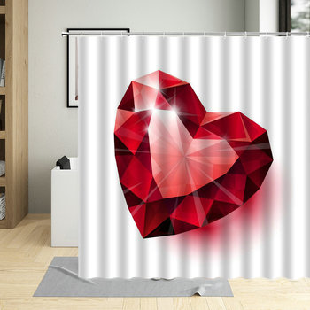 Red Heart Love Valentine's Day Printed Bathroom Shower Curtain Large 240x180 Waterproof Cloth Pink Romantic Bath Curtains Decor image