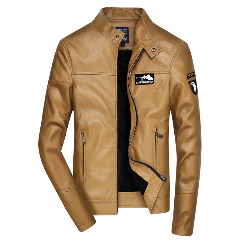 Spring And Autumn Thin Men Stand Collar Embroidery PU Leather Coat Youth Versatile Casual Leather Jacket