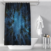 Night sky starry forest polyester printing waterproof bathroom shower curtain bathroom partition curtain with hook halloween night bats pattern showerproof bathroom curtain