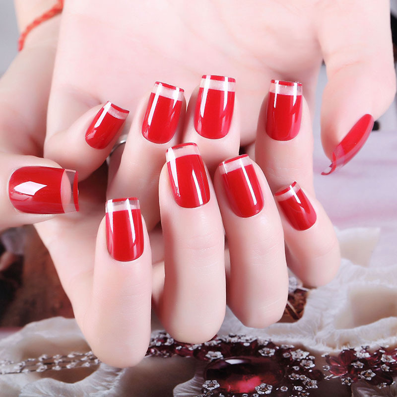 Douyin Manicure Patch Fake Fingernails Finished Product Manicure Stickers Flash Through Wine Hong Xian White Simple Bride Manicu