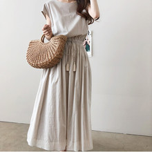 2021 NOVEDAD DE VERANO sueltos cintura 5XL más algodón y lino vestido largo para las mujeres cuello Normcore/minimalista cuerda de Mid-Calf