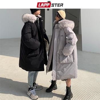 LAPPSTER Winter Long Coat Men Parka 2020 Korean Fashions Fur Hooded Jacket Coat Mens Oversized Black Thick Jacket Couple Clothes