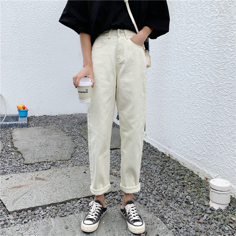 HziriP 2019 Retro Straight Female Brief Casual Large Size New Jeans High Waist Women Vintage Loose Chic Denim All Match Trousers