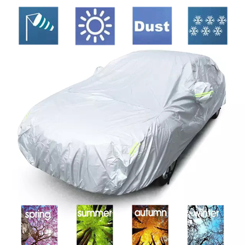 JIUWAN Universal SUV Car Covers Sun Dust UV Protection Outdoor Auto Full Covers Umbrella Silver Reflective Stripe For SUV Sedan