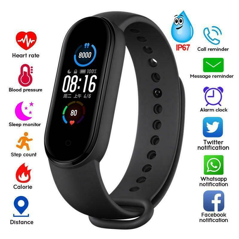 M5 Health Bracelet Heart Rate Blood Pressure Smart Band Fitness Tracker Smartband Wristband for Smart Band 5 Smart Watch Devices