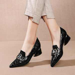Image 4 - Krazing Pot print mixed colors cow leather fashion elegant belt buckle pointed toe med heels slip on spring daily wear pumps L40