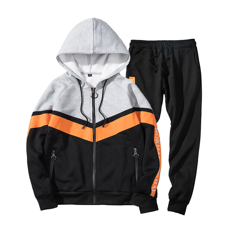 Men's 2020 Hat Zipper Color Stitching 2-piece Male Fitness Running Sports Gym Jogging Training Suit Sport Set