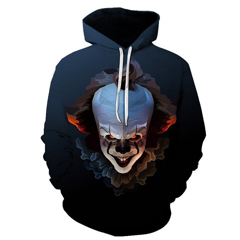 Pennywise 3D Joker Hoodie Sweatshirt Men's And Women's Pullover Hoodie Sudadera Hombre Casual Brand Sportswear Sportswear