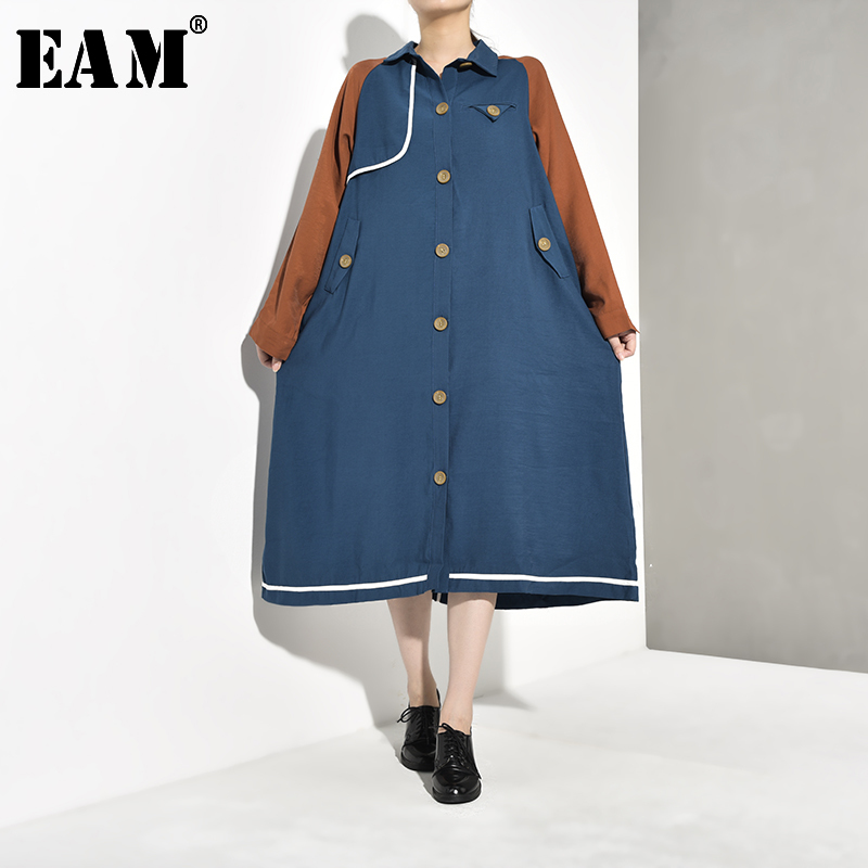 [EAM] Women Contrast Color Long Big Size Trench New Lapel Long Sleeve Loose Fit Windbreaker Fashion Spring Autumn 2020 YE6170