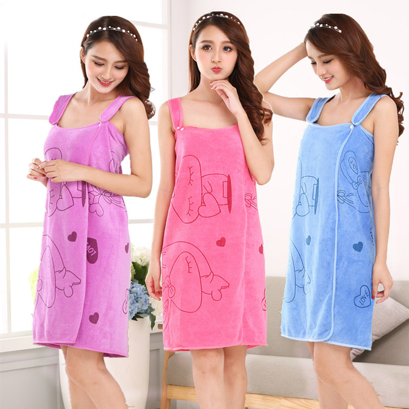shop with crypto buy Women Fast Drying Rabbit Wearable Bath Towel Shower SPA Wrap Body Beach Bathroom Bathrobe pay with bitcoin