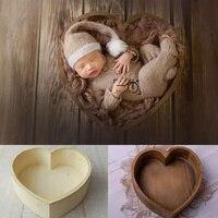 Adereços do bebê para a fotografia de madeira em forma de coração caixa recém nascido fotografia acessórios posando sofá estúdio tiro adereços fotografia Chapéus e bonés Mamãe e Bebê -