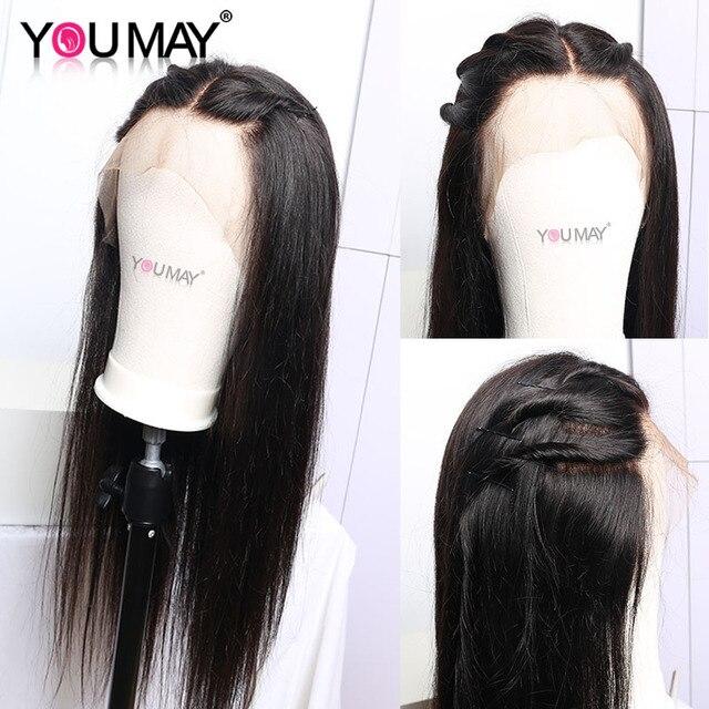 Prosto pełna koronka ludzkich włosów peruka dla kobiet fałszywe skóry głowy przejrzyste HD peruka na koronce 180% brazylijski prosto Remy włosy możesz