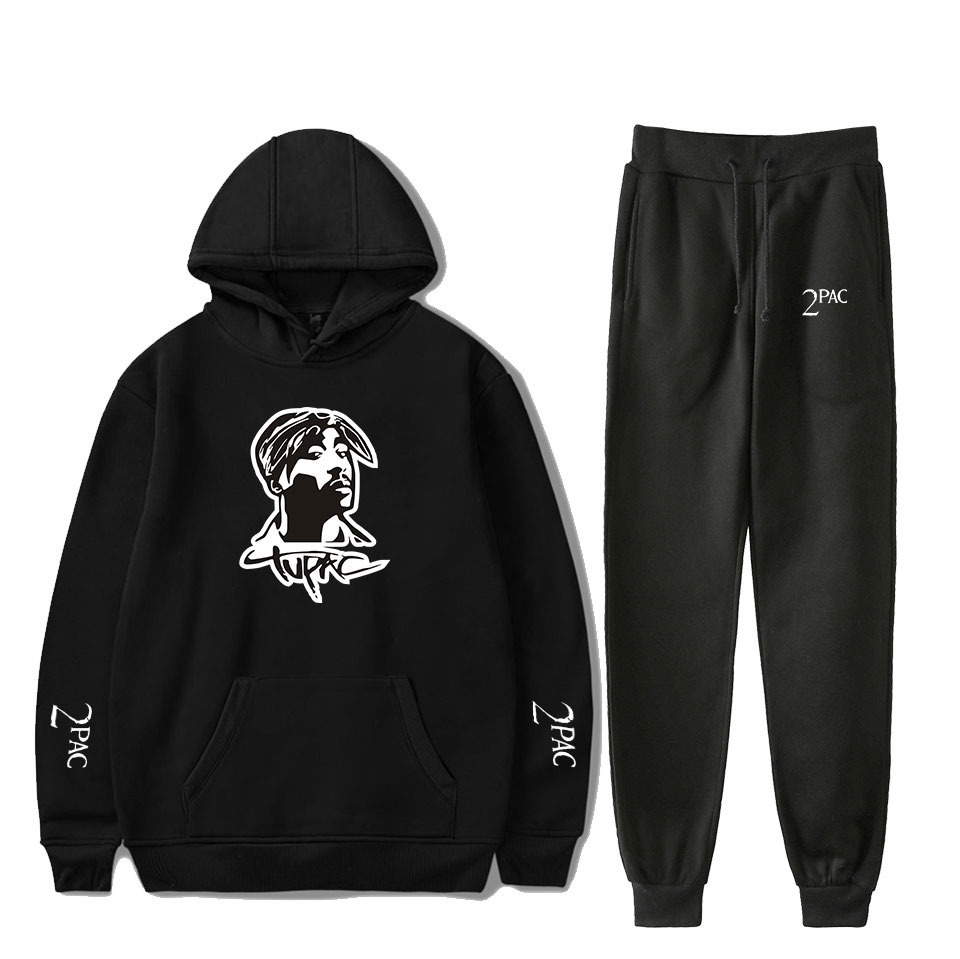 Rapper 2PAC Men's Sets Hoodies Pants 2 Pieces Tracksuit Brand Men Hoodie Tupac Shakur Sweatpants Casual Pant Sportswear Outfits