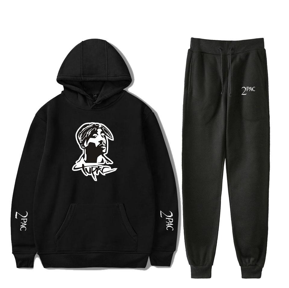 Rapper 2PAC Men's Sets Hoodies Pants 2 Pieces Tracksuit Brand Men Hoodie Tupac Shakur Sweatpants Casual Pant Sportswear Outfits