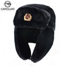 CAMOLAND Soviet Trapper Trooper Hat Mens Army Military Russian Ushanka Bomber Hat Winter Warm Caps Pilot Faux Rabbit Fur Earflap