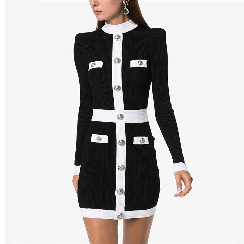 Piste européenne robe de créateur femmes automne élégant simple boutonnage Patchwork robe tricotée a-ligne à manches longues Mini robe