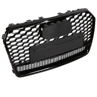 For RS7 Quattro Style Front Sport Hex Mesh Honeycomb Hood Grill Gloss Black For Audi A7/S7 2015 2016 2017 Car Accessories New