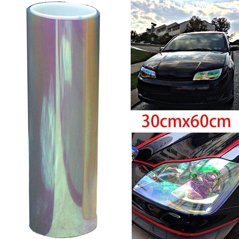 30*60cm camaleão cor mudando matiz vinil envoltório adesivo à prova dwaterproof água farol filme lâmpada de luz do carro