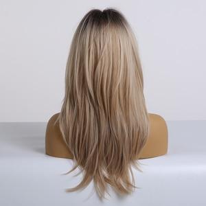 Image 3 - Светлый черный Omber парик с челкой, синтетические парики для женщин, термостойкий косплей парик средней длины, высокая температура