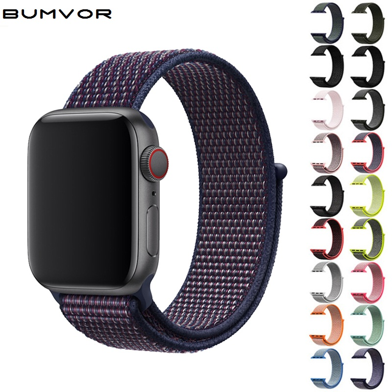 44/40/42/38MM Sports Knit Nylon Belt With Fabric Nylon Strap Bracelet For Iwatch 4/3/2/1 For Apple Watch Band  Black
