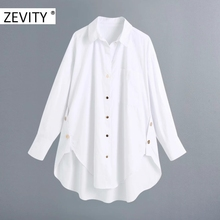 Zevity New Women fashion golden buttons white smock blouse ladies long sleeve business shirt chic femininas blusas tops LS7218