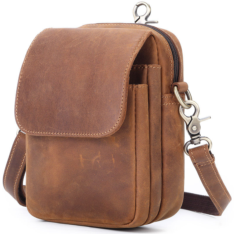 Hot New Style Men's Leather Running Bag Horse Leather Phone Xie Bao Retro Outdoor Three-Layer Wear Leather Belt Bag