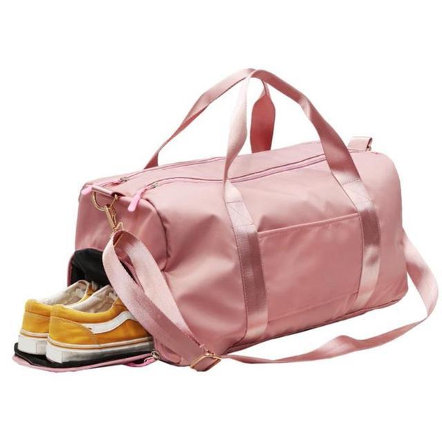 Nylon Women Men Travel Sports Gym Shoulder Bag Large Waterproof Nylon Handbags Black Pink Color Outdoor Sport Bags 2019 New 3