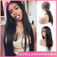 """Pelucas de cabello humano de encaje completo MALAIKA para mujeres negras pelucas rectas 130% densidad alta calidad 10 """"-28"""" peluca brasileña de encaje completo"""