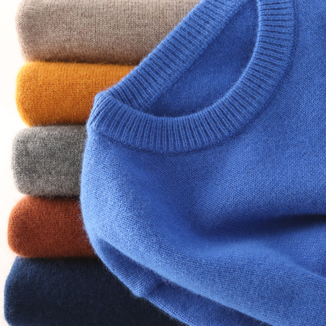 Hot Selling Cashmere Cotton Blended Thick Pullover Men Sweater autumn winter jersey Jumper hombre pull Knitted sweater 1