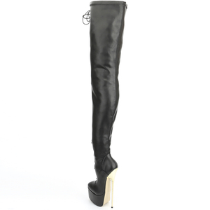 Image 5 - jialuowei Crotch High Boots with Gold Metal Stiletto Heels Lace Up High Heel Platform Shoes Pointed Toe Over Knee Women Boots
