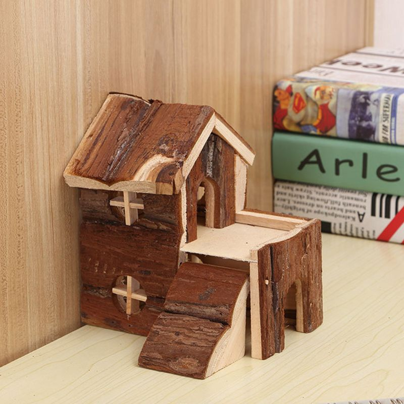 Pets 2 Storey Wooden House Waterproof Small Villa Play Cabin For Hamsters Bunny