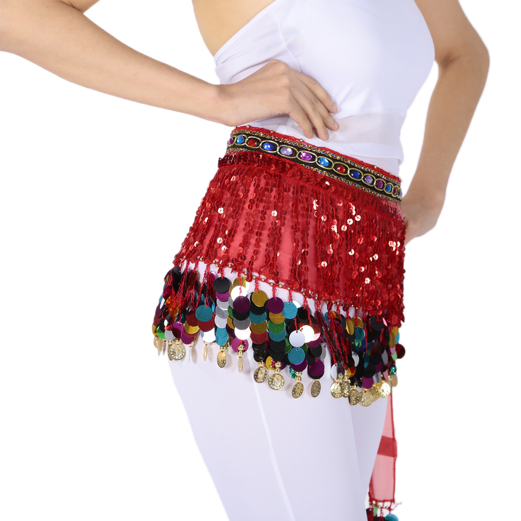 Belly Dance Waist Chain Hip Skirt Scarf With Sequins Coin Tassel