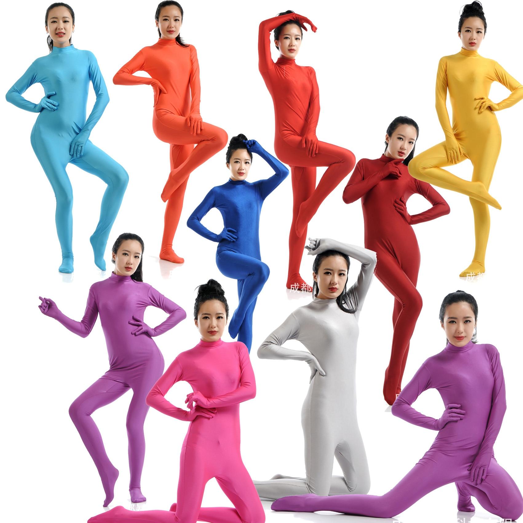 No Head Shiny Zipper Bodysuit Zentai Full Body Tights For Women