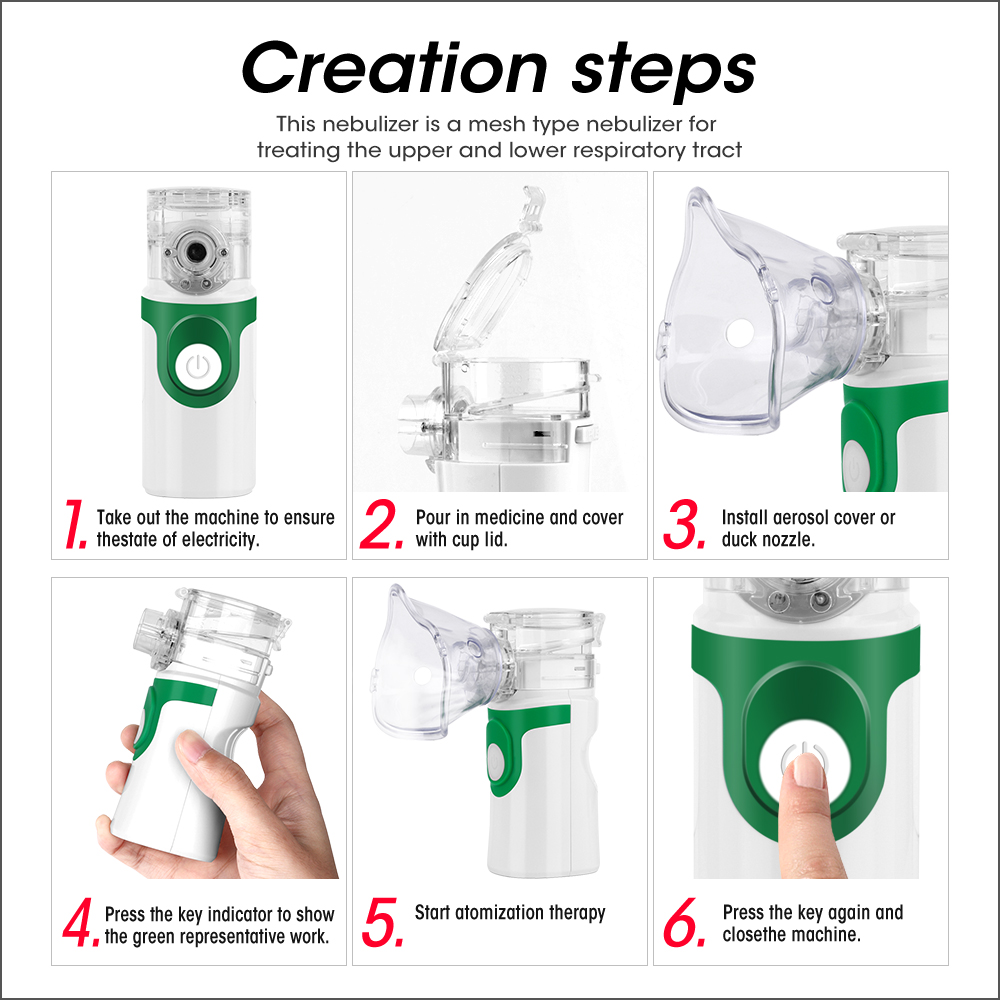 Image 5 - RZ Health Care Handheld Nebulizer Children Adult Asthma Inhaler Mini Nebulizador Rechargeable Automizer Ultrasonic Inalador-in Steaming Devices from Beauty & Health