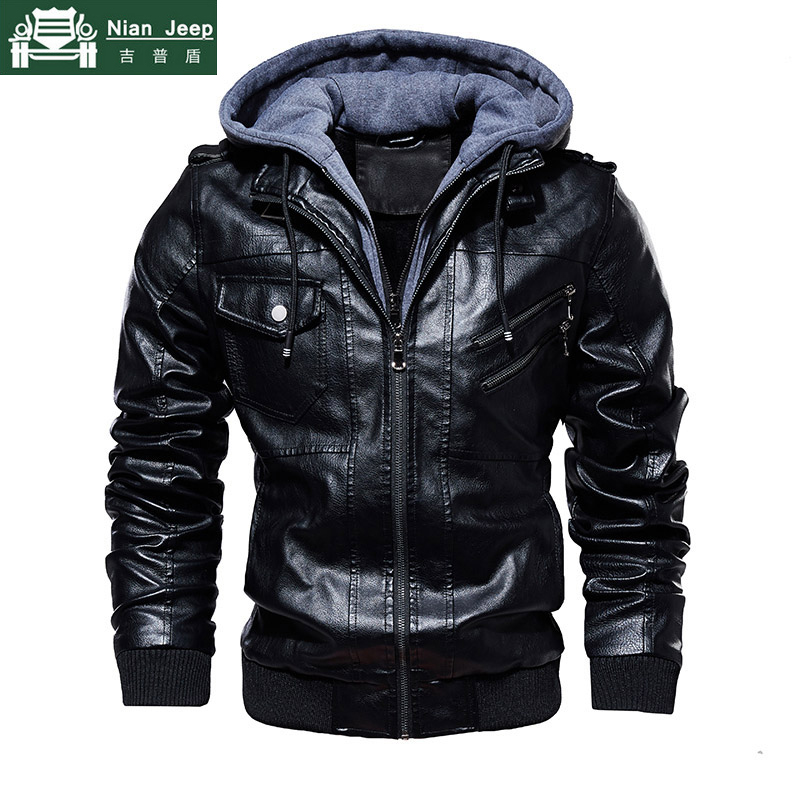 2019 New Motorcycle Leather Jacket Men Oblique Zipper Outwear Faux Leather Jackets Pu Leather Coat Euro Size S-3XL Dropshipping