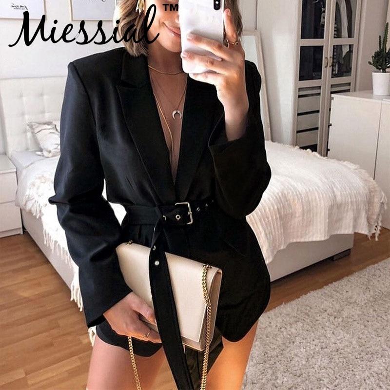 Miessial Black Office Ladies Elegant Suit Blazer Women Long Sleeve Pocket Belt Jacket Female Autumn Winter Loose Outwear Blazer