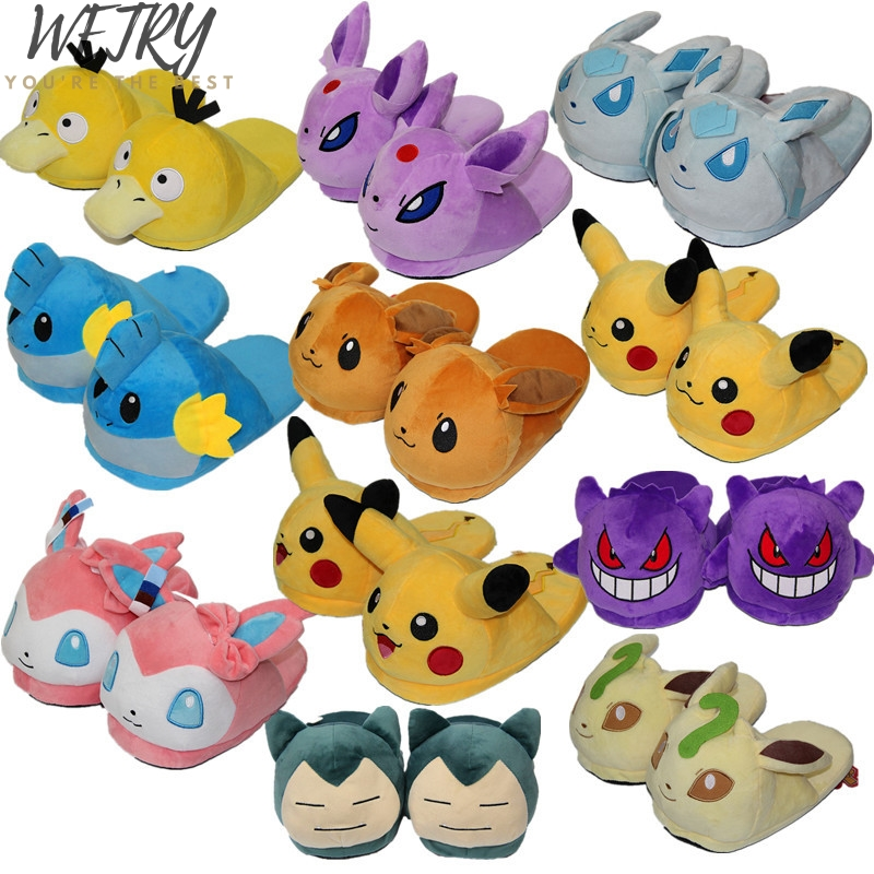 Wetry New Anime Cartoon Pokemon Slippers Lovers Warm Woman Slippers Elf Ball Pikachu Go Plush Shoes Home House Slippers Children