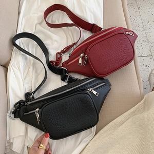 Fashion Stone Pattern PU Leather Chain Waist Bag Bananka Bag on A Belt Leisure Fanny Pack Women Satchel Belly Band Belt Bag