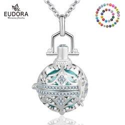 Eudora 18mm harmonia bola bola redonda medalhão de cristal pingente caber diy chime bola colar aromaterapia gaiola jóias para mulher k135