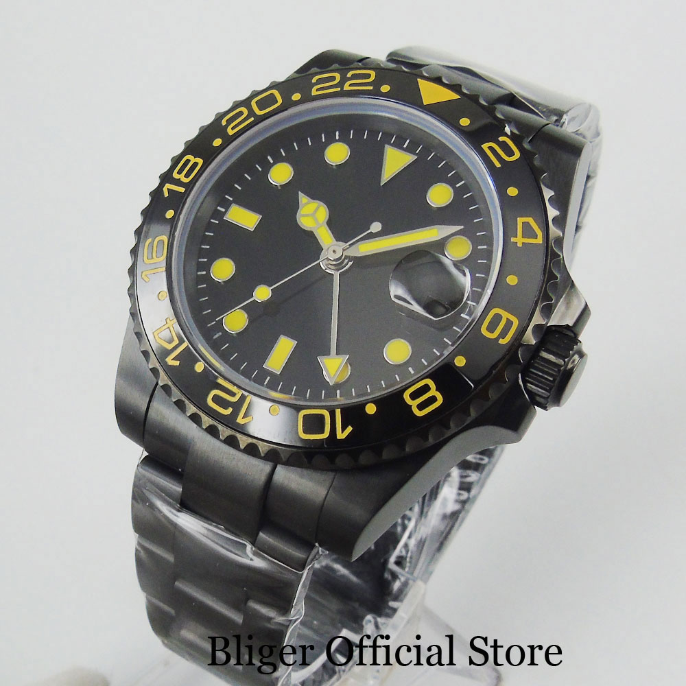 BLIGER PVD Plated 40mm Black Automatic Men Watch Sterile Dial Yellow Markers Mental Bracelet Sapphire Glass GMT Function
