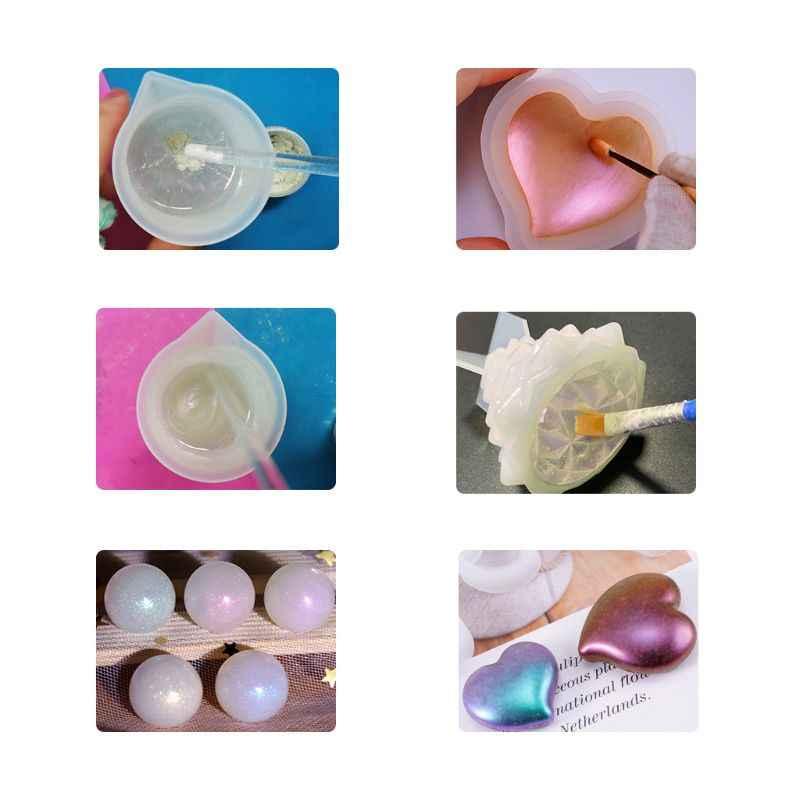 4 pçs/set jóias de resina cores misturadas, diy, fazer artesanato, pó brilhante, pigmento luminoso, conjunto de material epóxi cristal