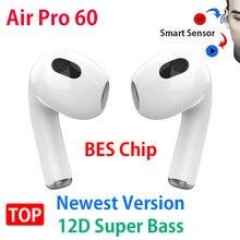 Для MacBook Air Pro 60 pk Air60 наушники-вкладыши TWS с наушники Беспроводной Bluetooth 5,2 наушники светильник Сенсор с зарядный чехол 12D супер бас PK Air3 Air4