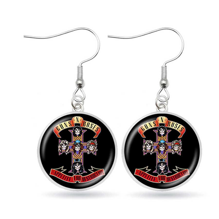 HOT Guns N ดอกกุหลาบต่างหู ROCK และ Roll Band แก้วภาพ Dangle ต่างหู Handmade เครื่องประดับ Aretes De Mujer Modernos
