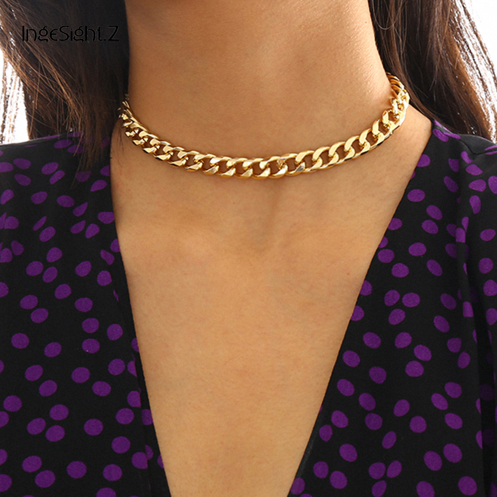 IngeSight.Z Punk Miami Cuban Thick Short Choker Necklace Collar Simple Minimalist Gold Color Chunky Necklace for Women Jewelry