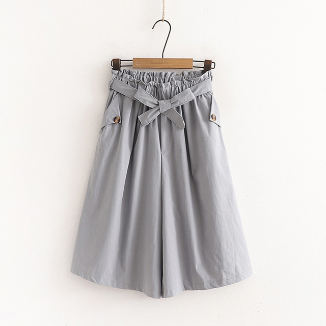 SURMIITRO Fashion 2021 Summer Korean Style Wide Leg Capris Women Short Pants High Waist Shorts Skirts Female With Belt 4