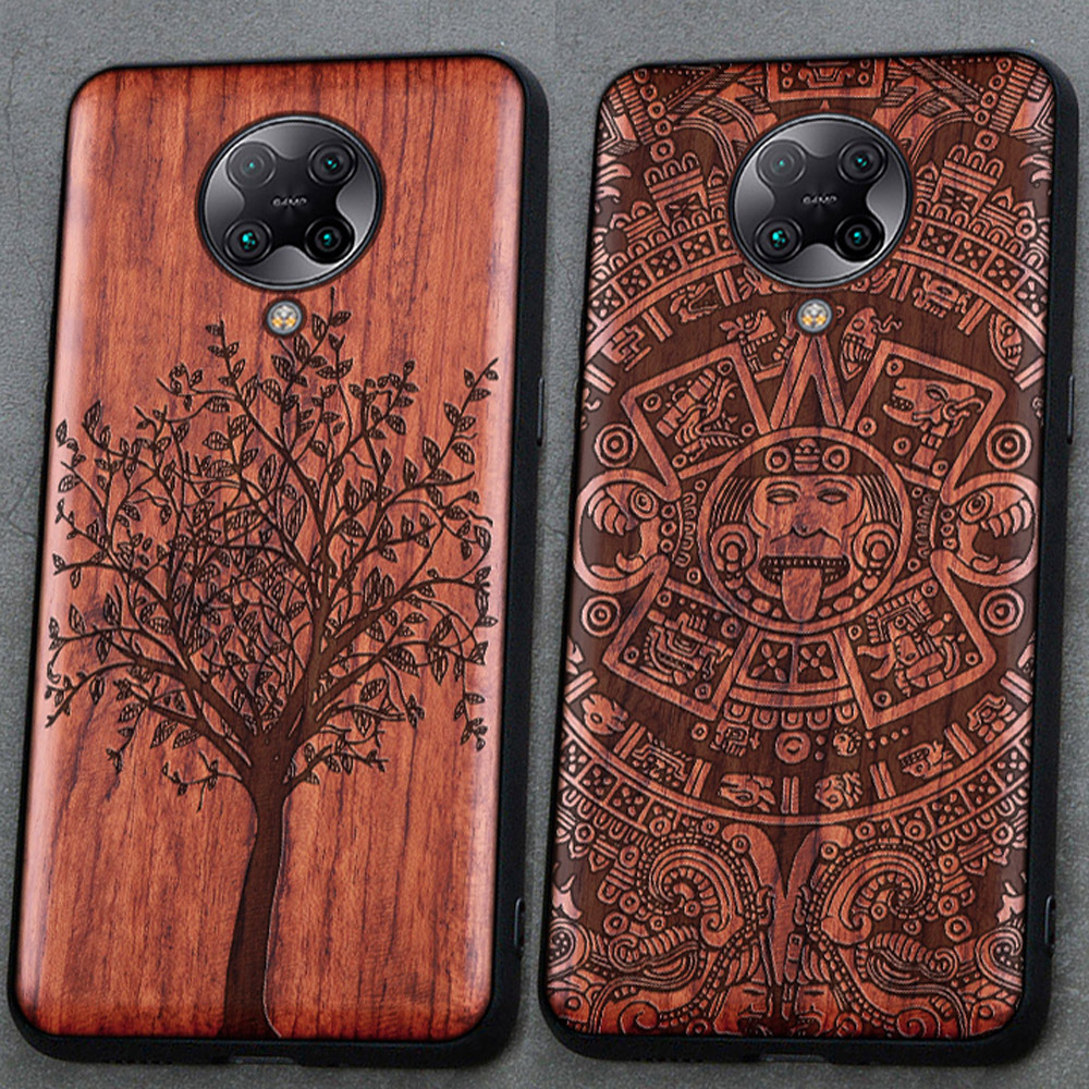 3D Carved Wood Cartoon Bear Case For Xiaomi Poco F2 Pro Redmi K30 Pro Ultra Dragon Lion Wolf Tiger Tree wooden carve Cover(China)