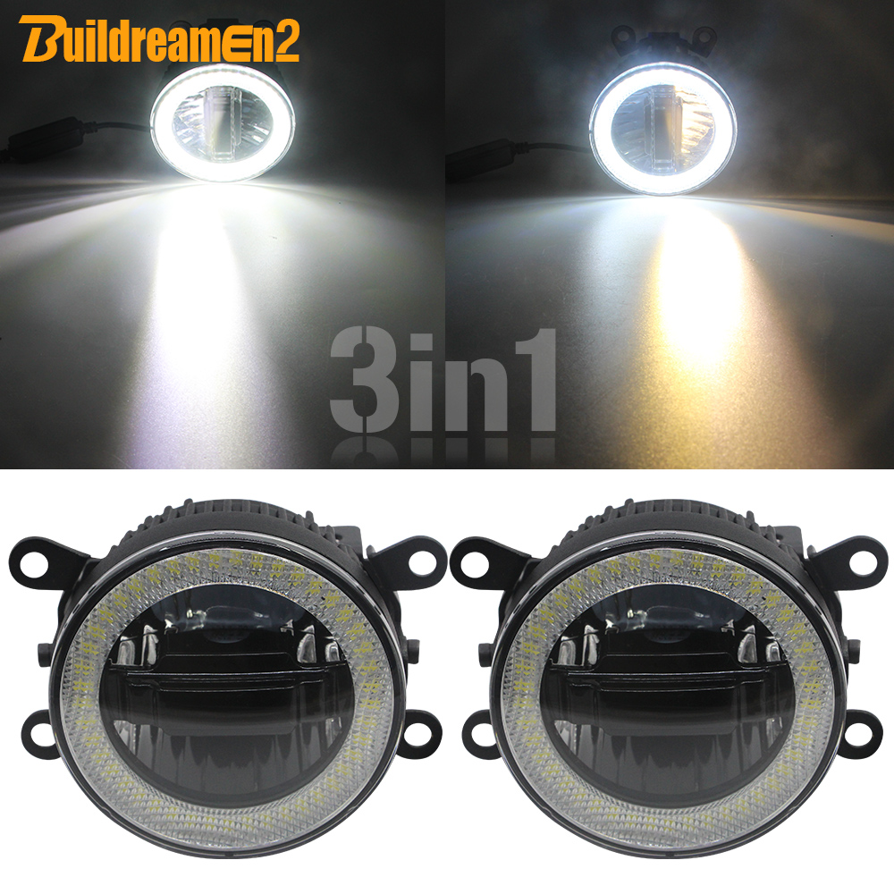 3-IN-1 LED Daytime Running <font><b>Light</b></font> + Angel Eye Car Projector Fog <font><b>Light</b></font> DRL For <font><b>Mitsubishi</b></font> <font><b>Outlander</b></font> L200 Triton Pajero Galant RVR image