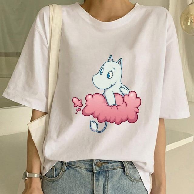 2020 New Fashion Women Print Cute Mumins  Tshirt White Shortsleeve O-Neck Shirts   Kawaii Harajuku T Shirts Women Aesthetic Tops