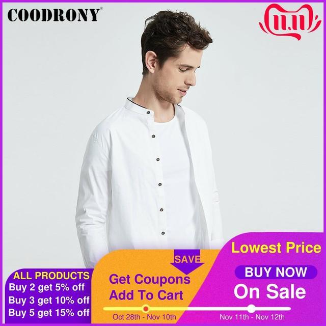 Coodrony camisa masculina de manga curta, estilo chinês, mandarin, com gola, de algodão, legal, para o verão, casual, s96017
