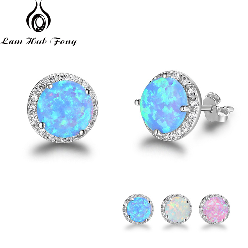 Classic 925 Sterling Silver Stud Earrings Round White Pink Blue Opal Earrings With Cubic Zirconia Jewelry Gift (Lam Hub Fong)